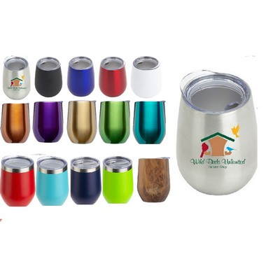 USA PRINTED 11 Oz. Double Wall Mini Vacuum Insulated Stainless Steel Stemless Wine Tumbler w/Lid
